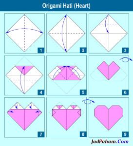 Diagram cara membuat origami hati
